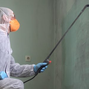 Man in pest control equipment with pesticide in left arm spraying pesticide with ergo grip