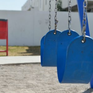 playground swing maintenance blue swings