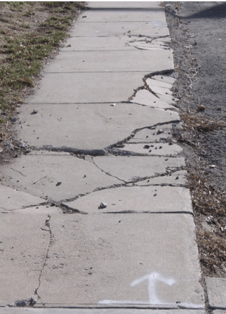 damaged sidewalk