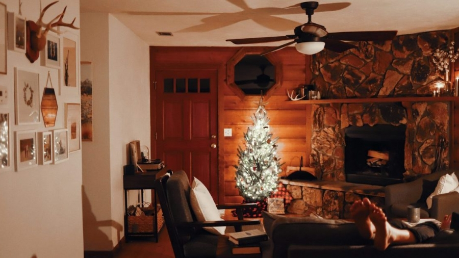 Living room in a cabin style home with a fireplace and holiday tree set up